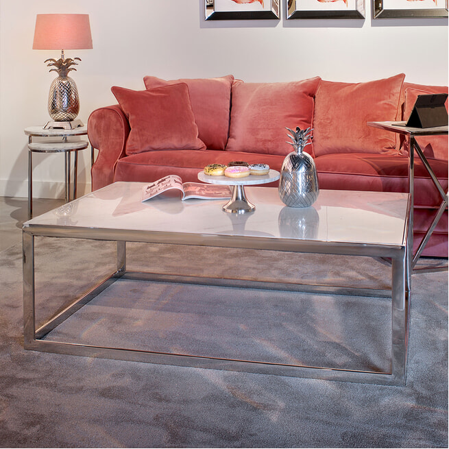 Richmond Vierkante Salontafel 'Levanto' Wit Marmer en Staal, 130 x 80cm