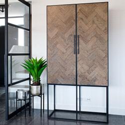 Richmond Opbergkast 'Herringbone' Eikenhout en Staal, 210 x 110cm