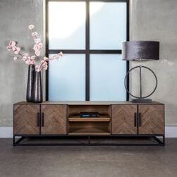 Richmond TV-meubel 'Herringbone' Eikenhout en Staal, 220cm