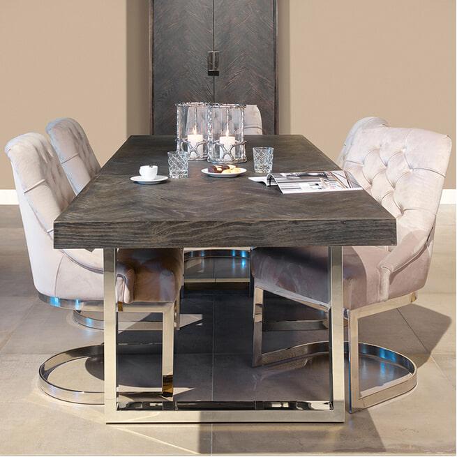 Richmond Uitschuifbare Eettafel 'Blackbone' kleur Zwart / Zilver, 195 - 265 x 100cm