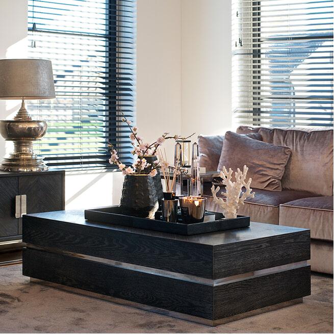 Richmond Salontafel 'Blackbone' Eikenhout en Staal, kleur Zwart / Zilver, 150 x 80cm
