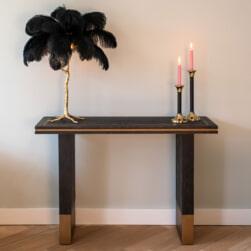 Richmond Sidetable 'Hunter' Eiken, kleur Zwart / Goud, 150 x 40cm