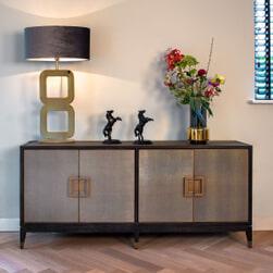 Richmond Dressoir 'Bloomingville' Eiken, kleur Zwart / Goud, 193cm