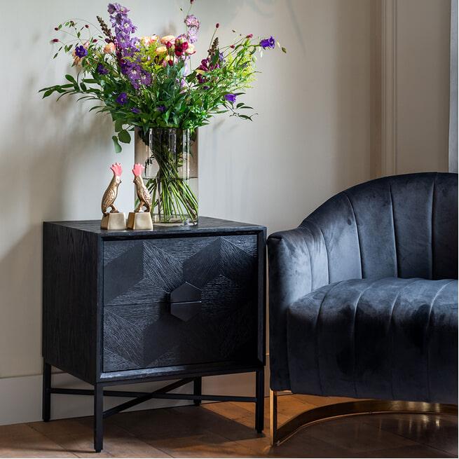 Richmond Nachtkastje 'Blax' Eiken, kleur Zwart