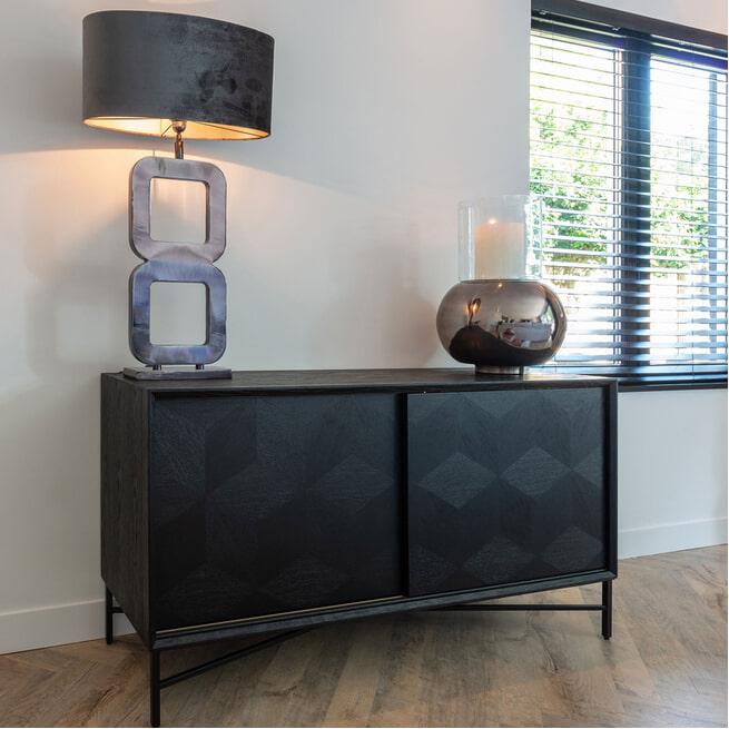 Richmond Dressoir 'Blax' Eiken, kleur Zwart, 160cm