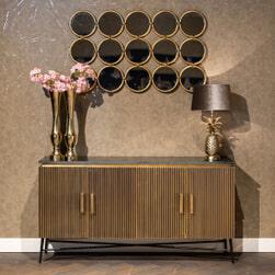 Richmond Dressoir 'Ironville' Metaal en Marmer, kleur Goud, 160cm