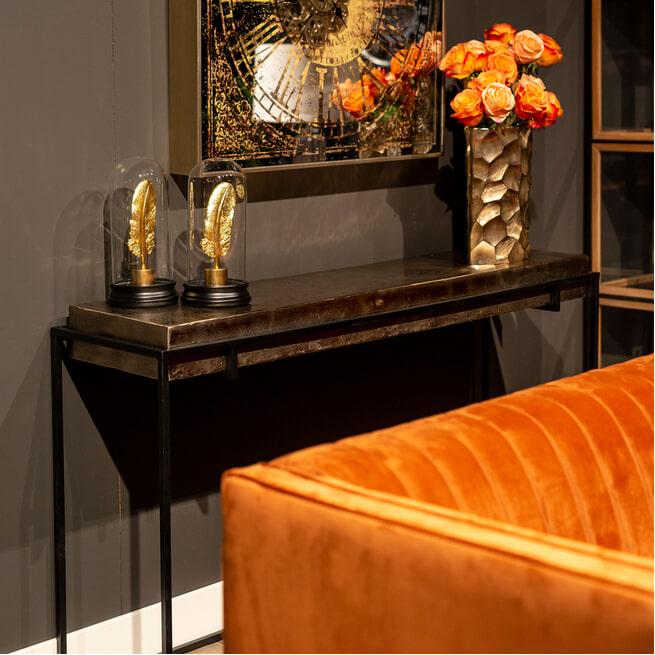 Richmond Sidetable 'Calloway' Metaal, kleur Champagne-gold / Zwart, 139cm