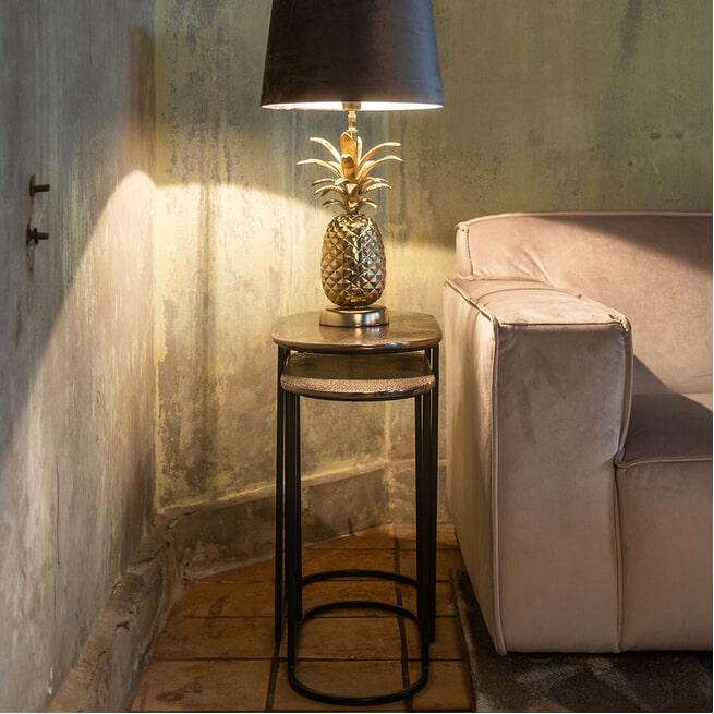 Richmond Bijzettafel 'Chandon' set van 2, kleur Champagne-Gold