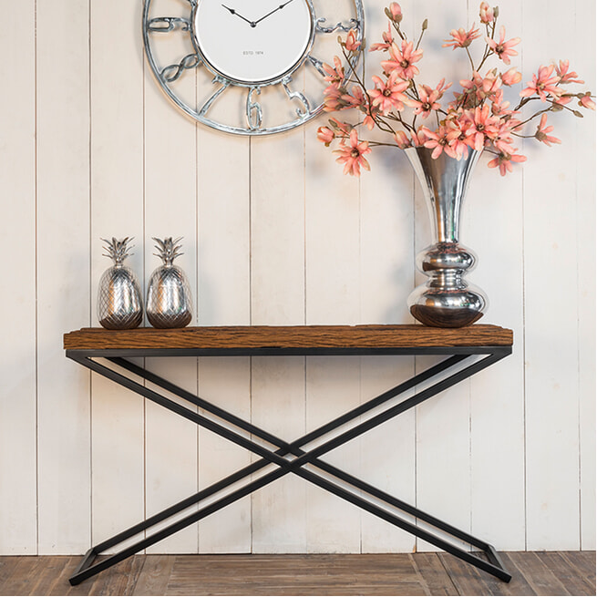 Richmond Sidetable 'Industrial Kensington' Hout en Staal, 140 x 40cm