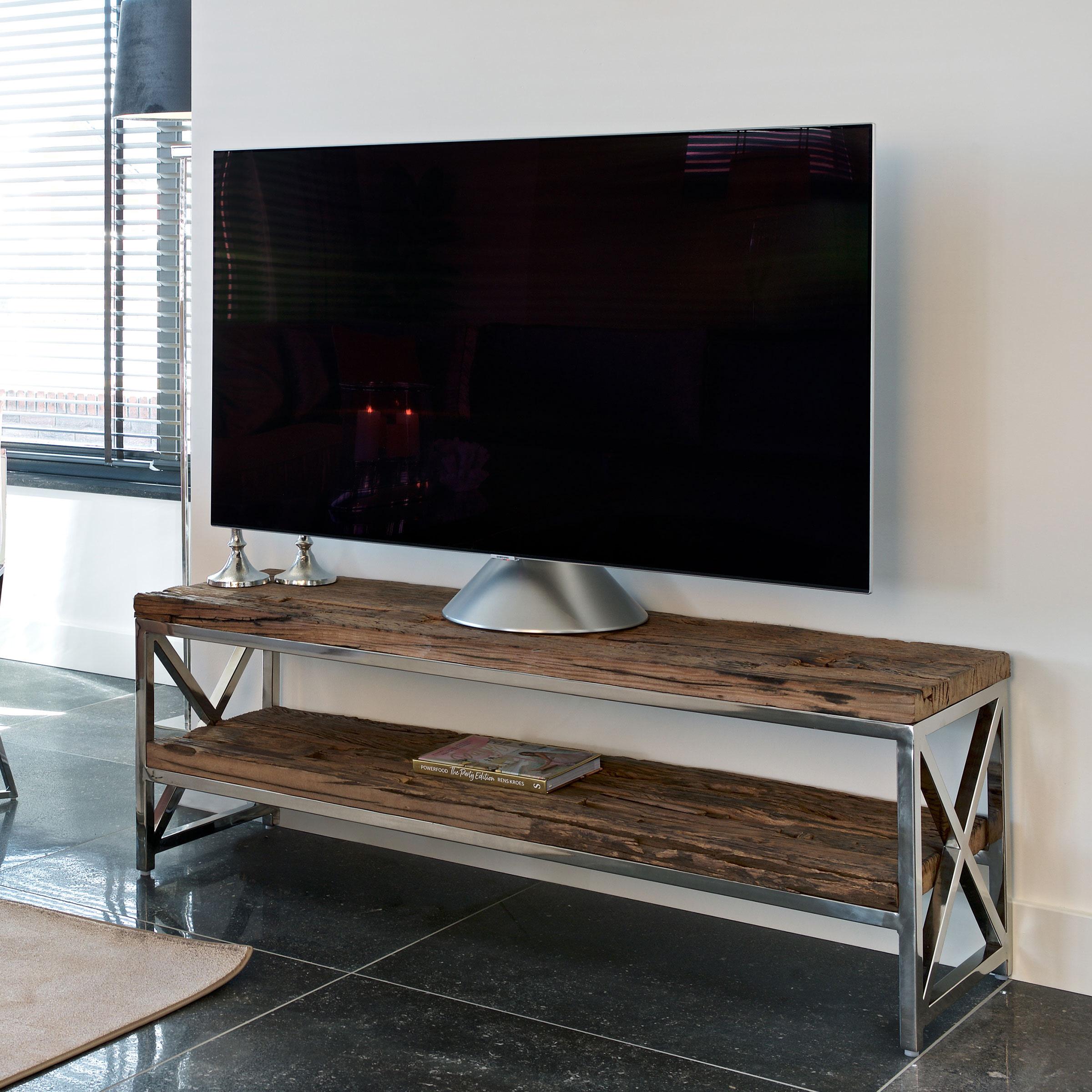 Richmond TV-meubel 'Kensington' RVS en Mangohout, 140cm
