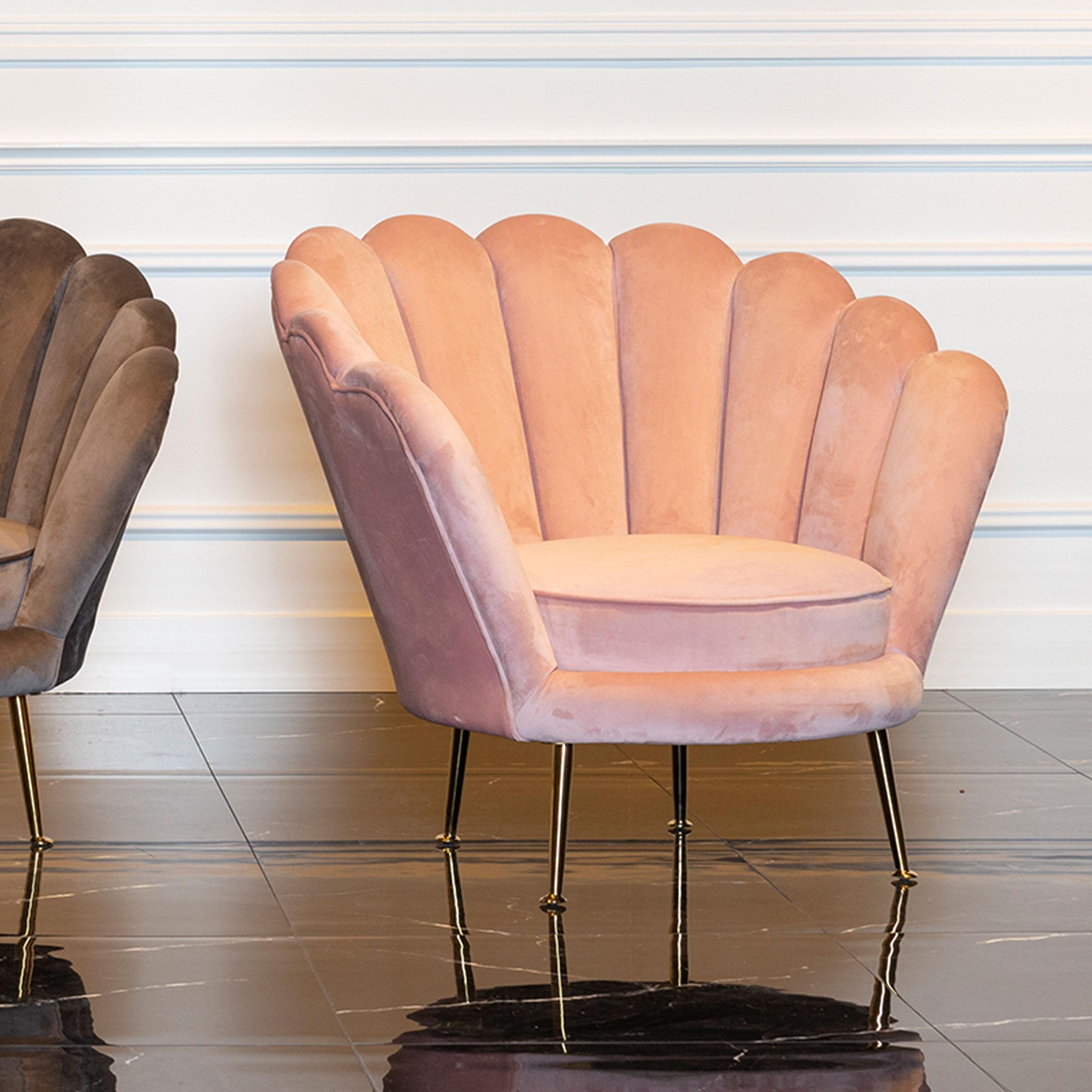 Richmond Fauteuil 'Perla' Velvet, kleur Roze