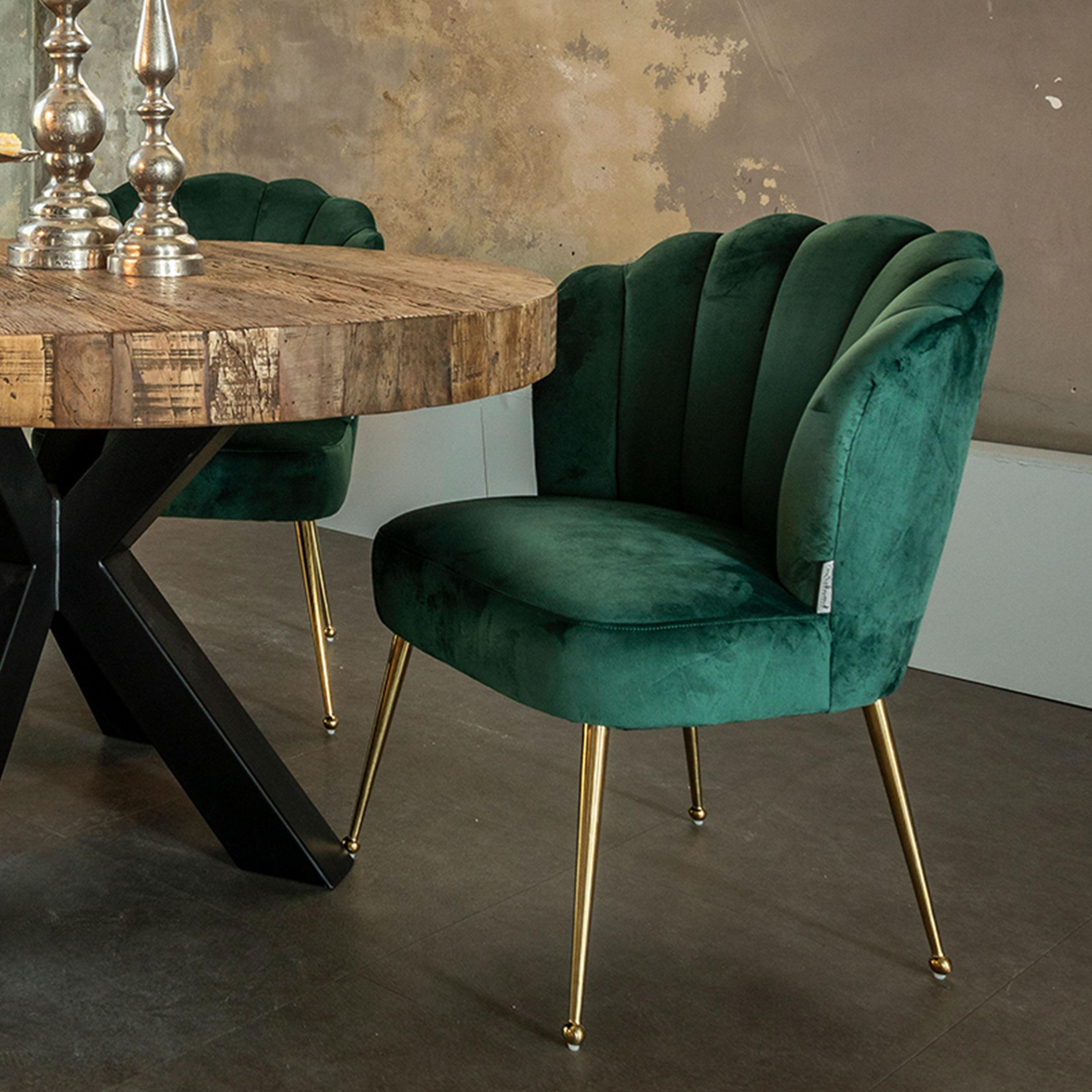 Richmond Eetkamerstoel 'Pippa' Velvet, kleur Groen / Goud