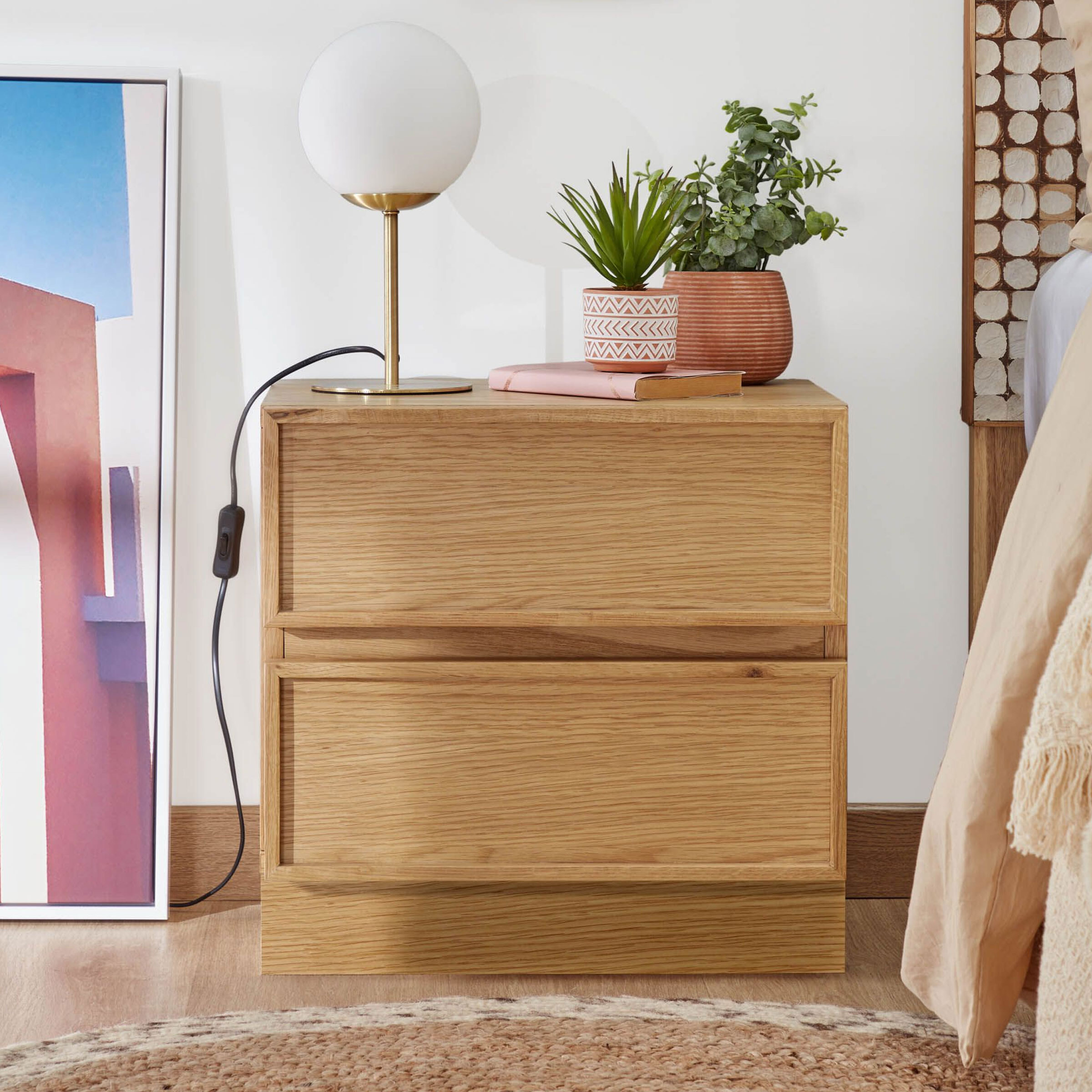 Kave Home Nachtkastje 'Taiana' Eiken, 44 x 45cm