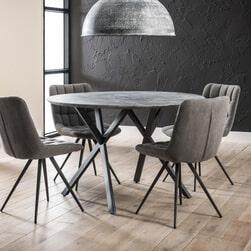 Ronde eettafel 'Nola' 120 cm, 3D-betonlook, kleur grijs