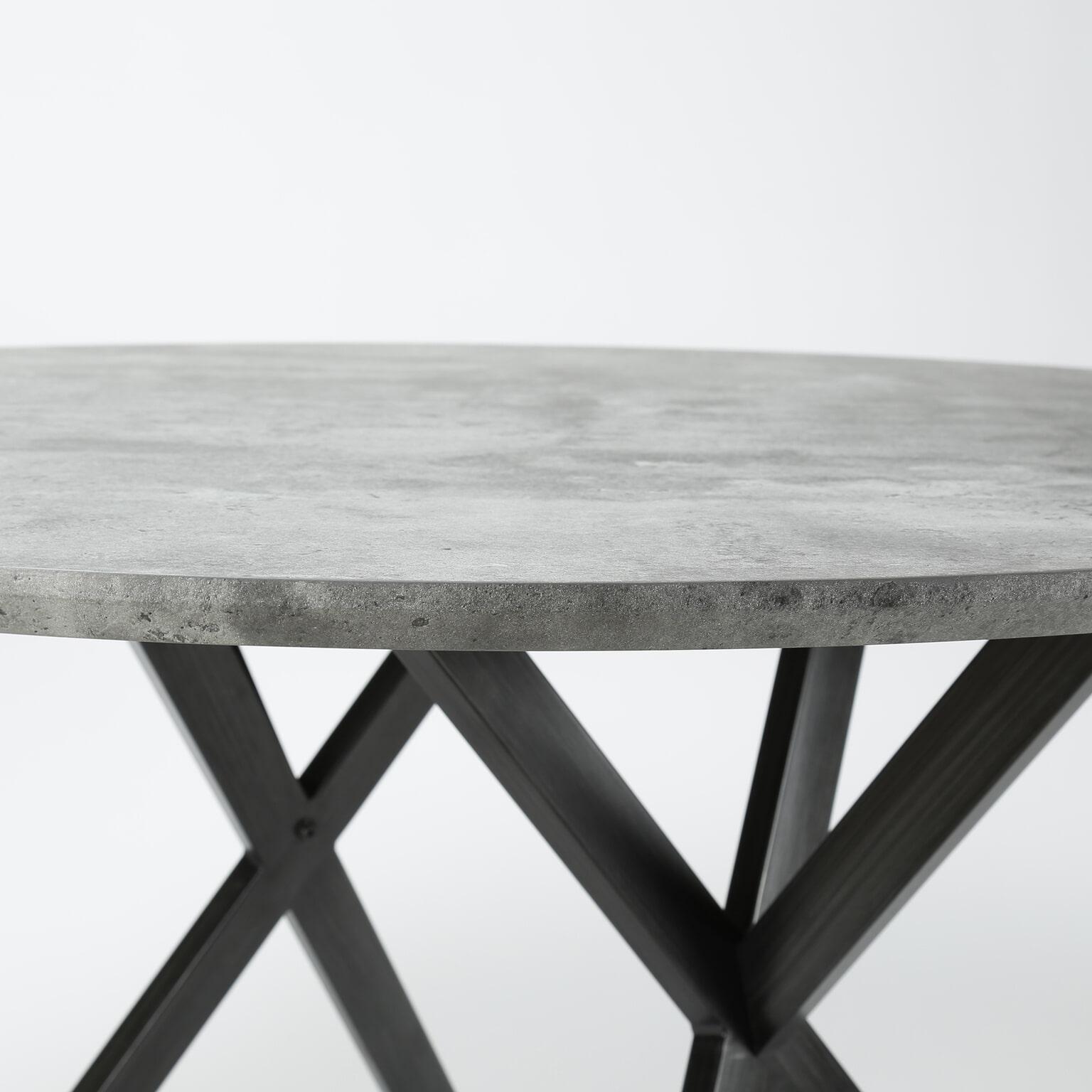 Grijze Vierkante Eettafel.Ronde Eettafel Nola 120 Cm 3d Betonlook Kleur Grijs