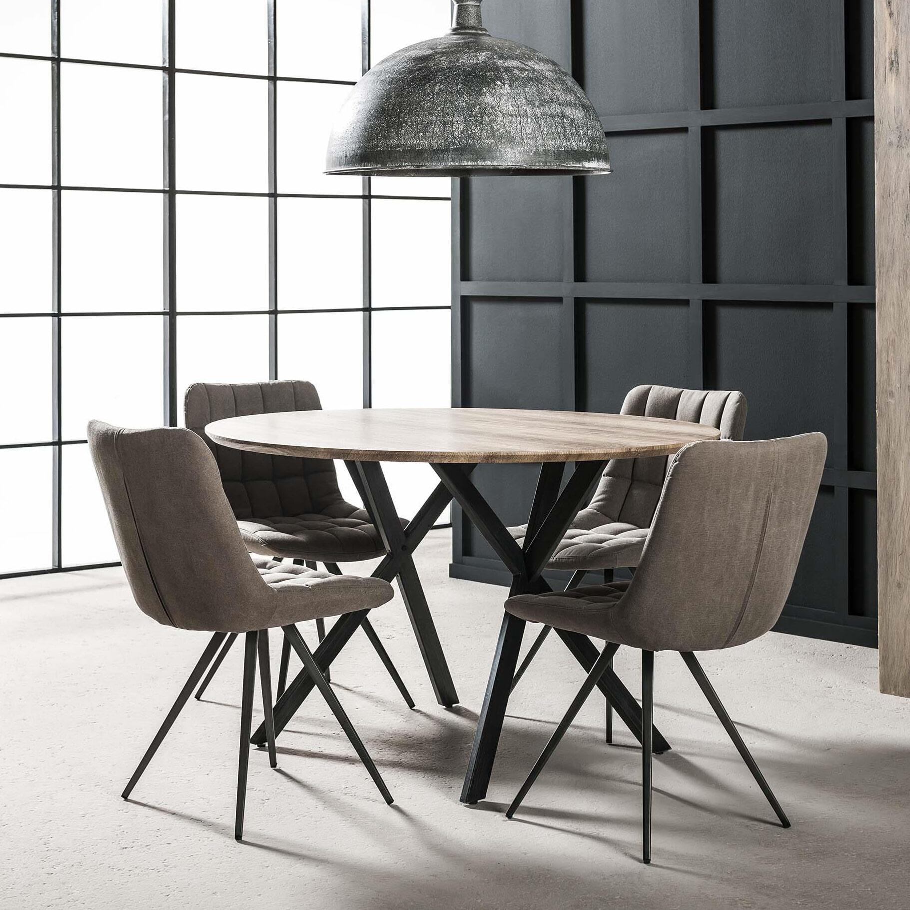Ronde eettafel 'Nola' MDF 120cm, kleur 3D Eikenlook Tafels | Eettafels vergelijken doe je het voordeligst hier bij Meubelpartner