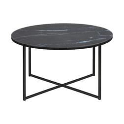 Bendt Ronde Salontafel 'Cay' 80cm zwart marmer, onderstel zwart