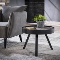 Ronde salontafel 'Teca Grey' met metalen rand, 60cm