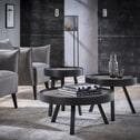 Ronde salontafel 'Teca Grey' met metalen rand