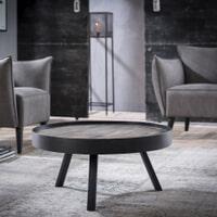 Ronde salontafel 'Teca Grey' met metalen rand, 75cm