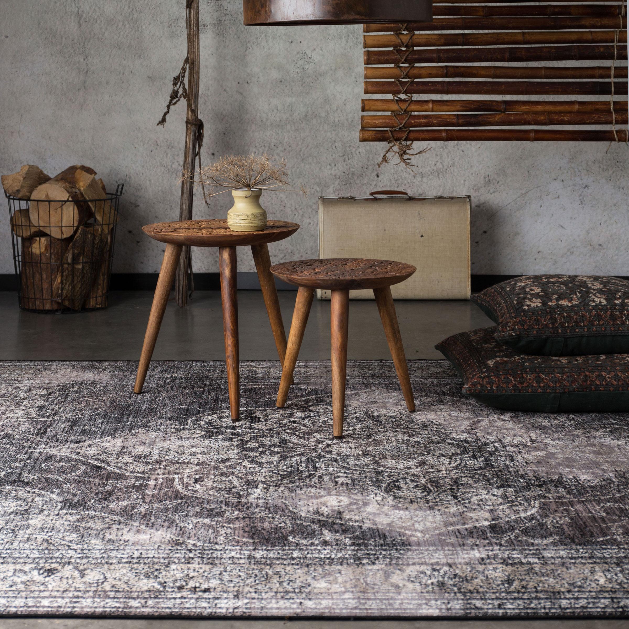 Dutchbone Vloerkleed 'Rugged' 200 x 300cm, kleur Dark