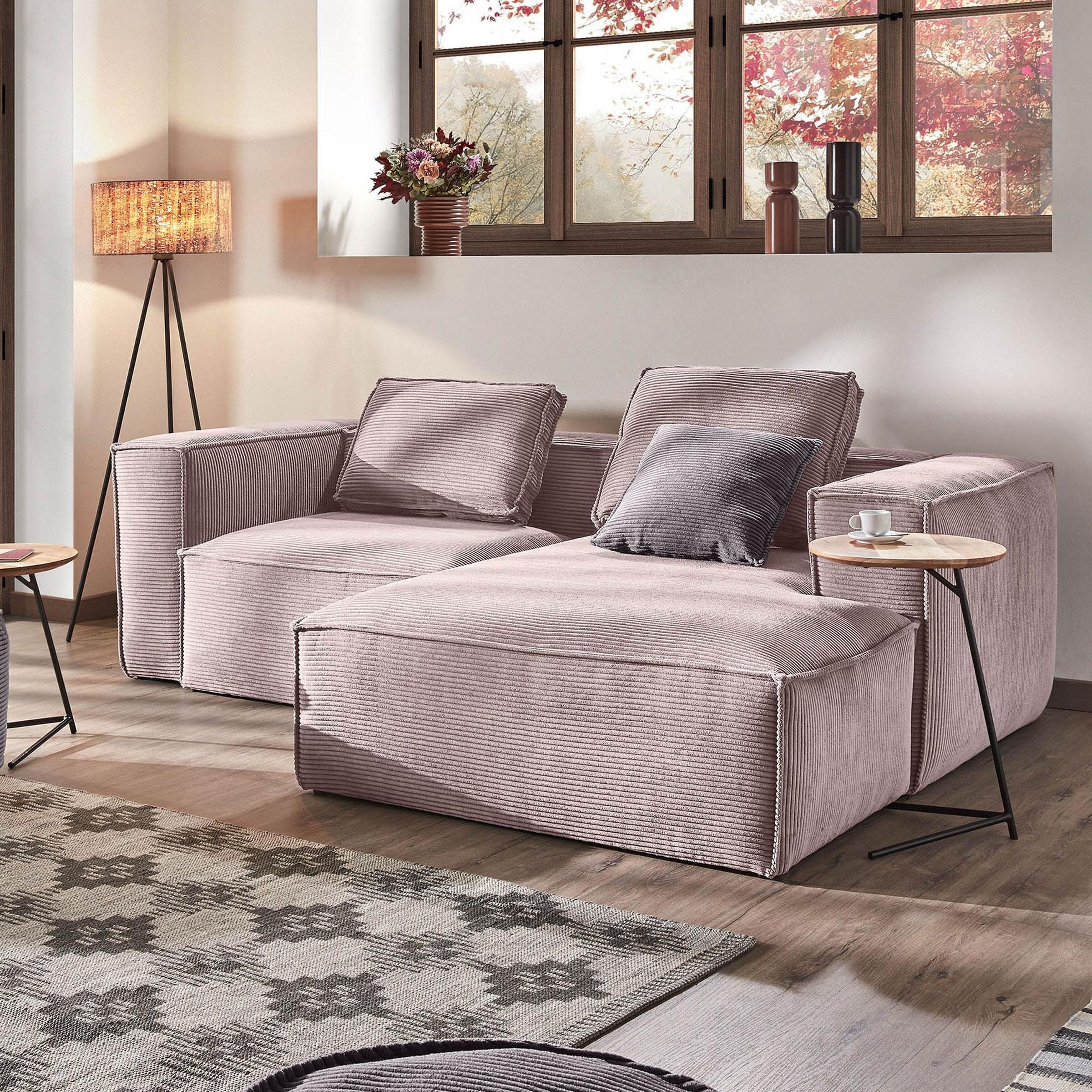 Kave Home Loungebank 'Blok' Rib, Rechts 240cm, kleur Roze