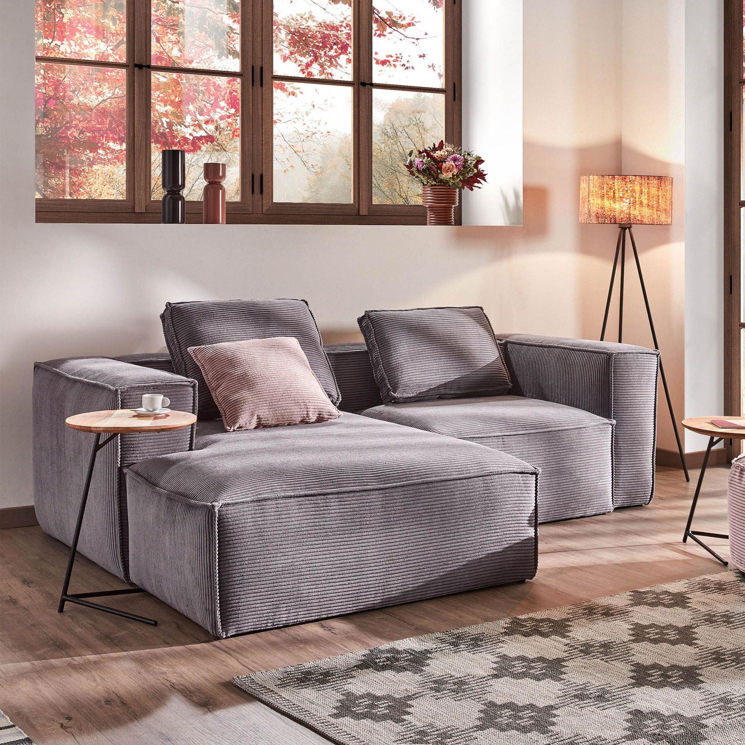 Kave Home Loungebank 'Blok' Rib, Links 240cm, kleur Donkergrijs