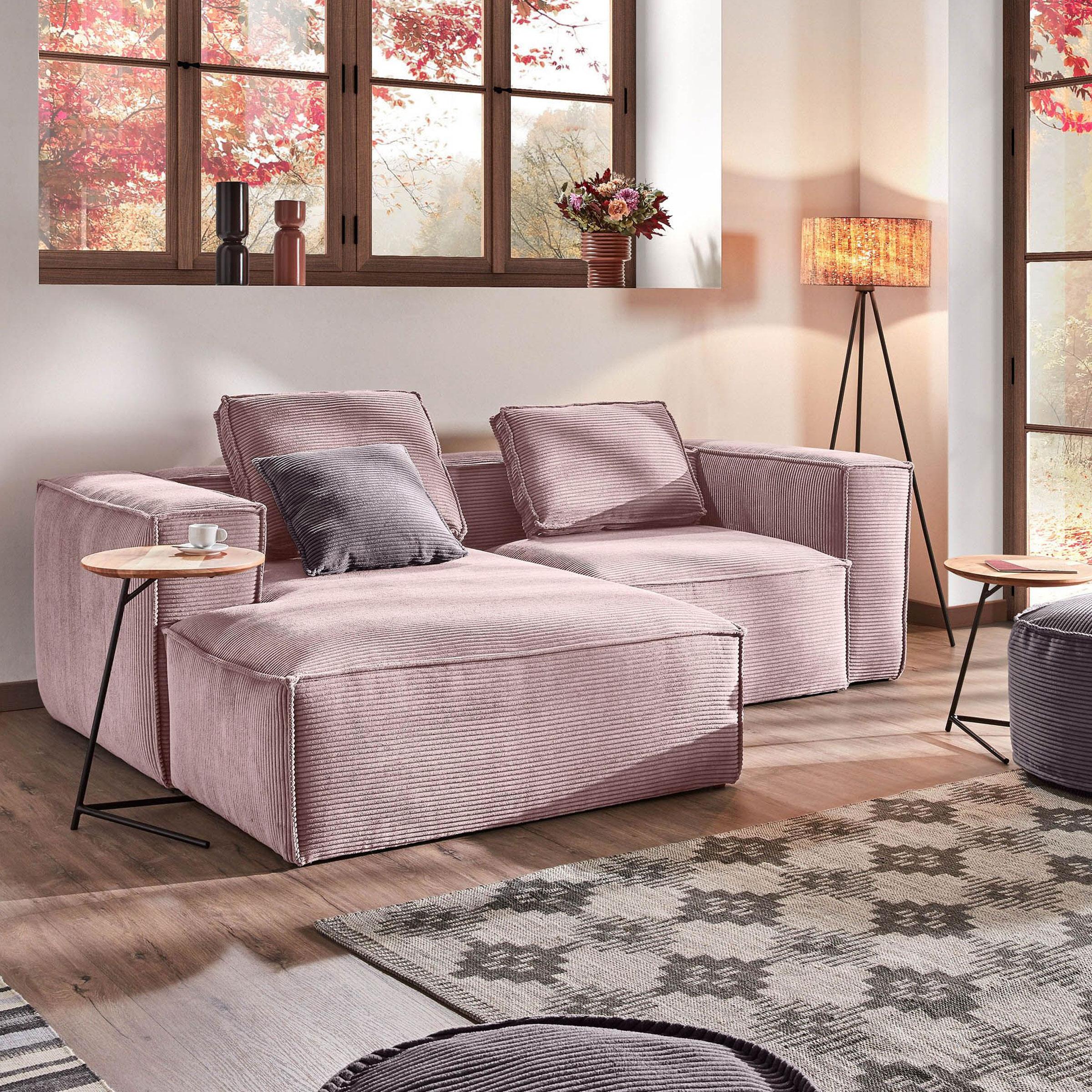 Kave Home Loungebank 'Blok' Rib, Links 240cm, kleur Roze