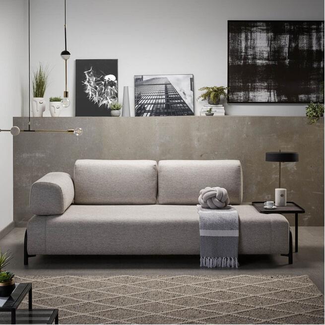 Kave Home 3-zits Bank 'Compo' Met Bijzettafel, kleur Beige