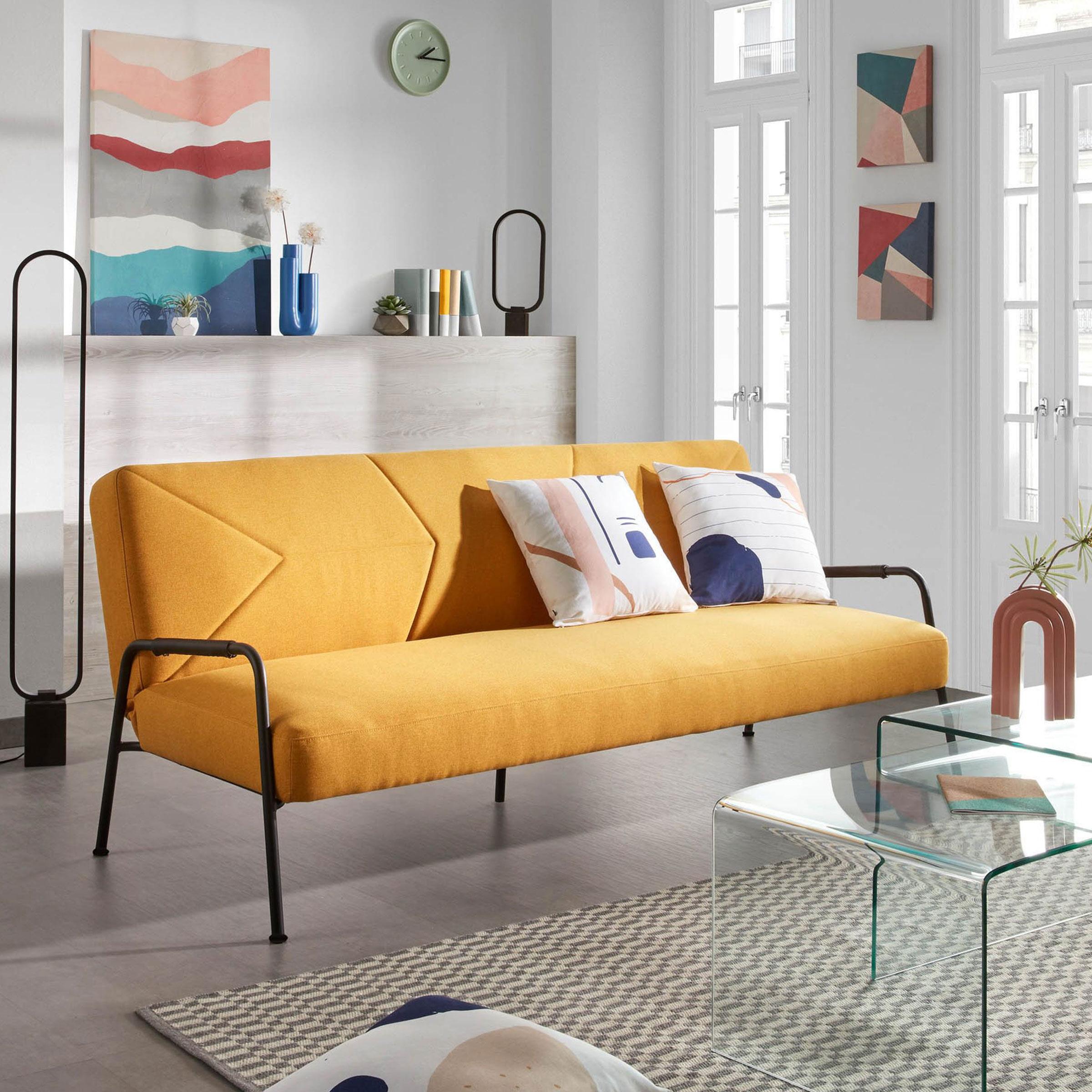Kave Home Slaapbank 'Neiela', kleur Mosterdgeel