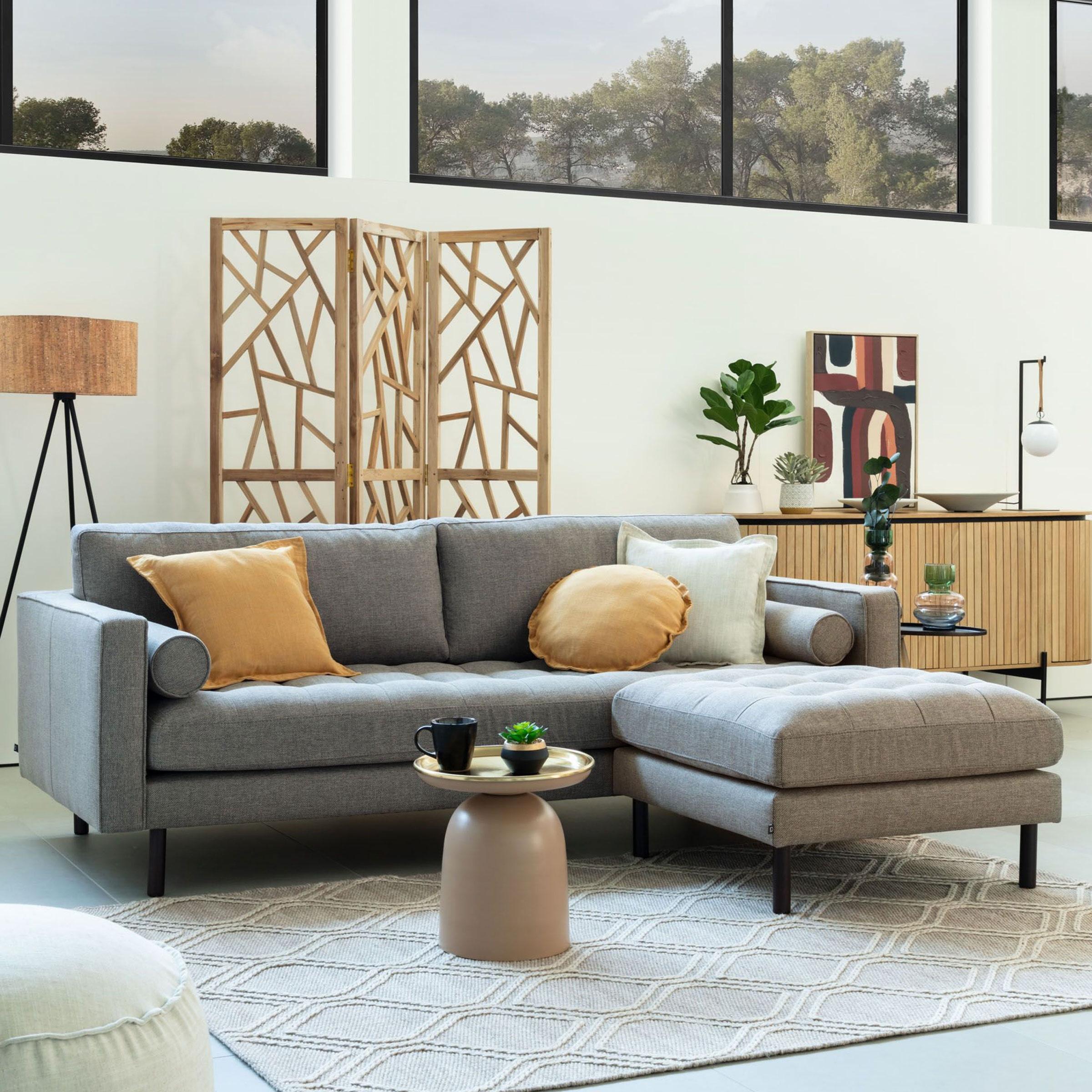 Kave Home 3-zits Bank 'Debra' met poef, Stof, kleur Lichtgrijs
