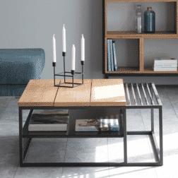 Interstil Salontafel 'Apartment' Eiken met zwart metaal, 90 x 90cm