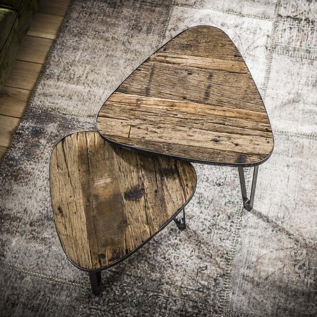 Salontafel 'Clarke' driehoek, Set van 2 stuks