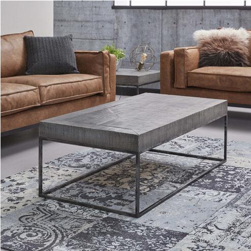 Salontafel 'Iwan' mangohout 120 x 60cm, kleur grijs antiek