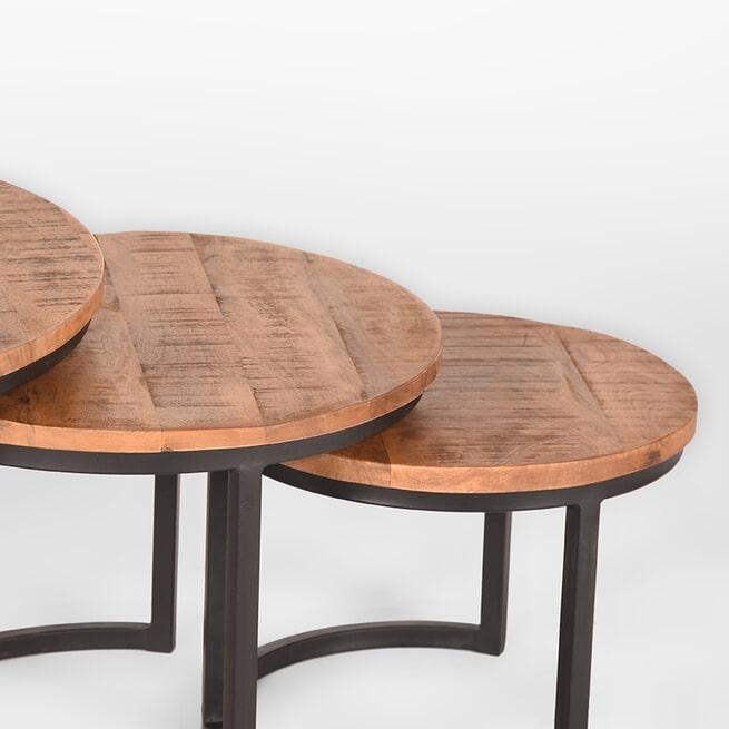 LABEL51 Salontafel 'Triplet', Mangohout, 70 x 44cm, set van 3