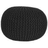 LABEL51 Poef 'Knitted', 50 x 35cm, kleur Zwart