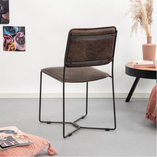 Sohome Eetkamerstoel 'Eduard' vintage leder, kleur bruin