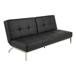 Slaapbank 'Maja' PU-leder, kleur zwart