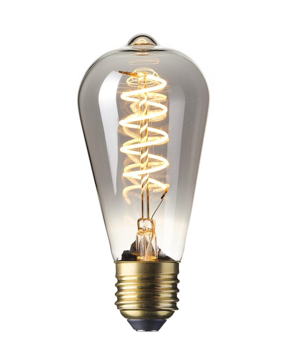 Spiraallamp 'Peer' E27 LED 4W Titanium Rustic 14cm, dimbaar