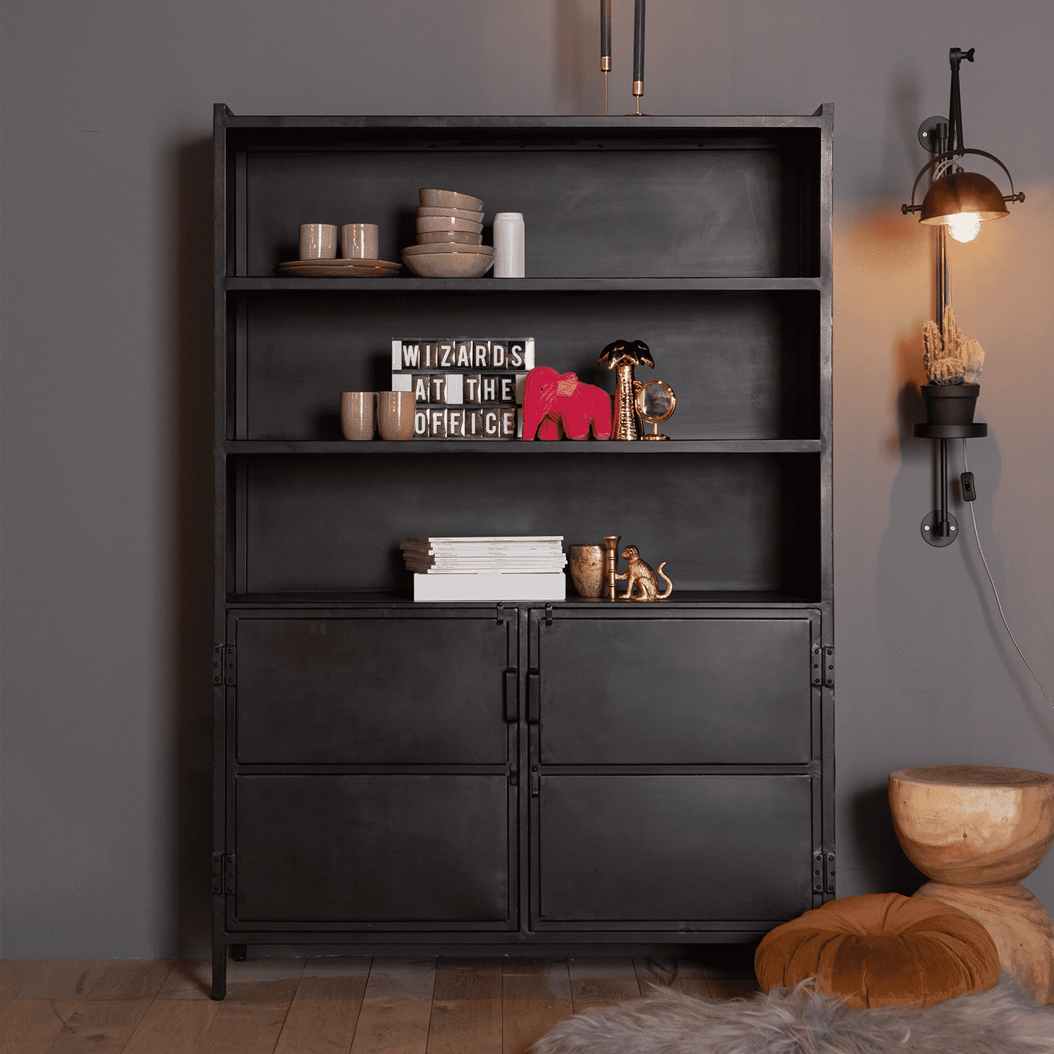 Eleonora Industriele opbergkast 'Steel' met 2 deuren, kleur zwart