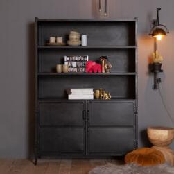 Eleonora Industriële opbergkast 'Steel' met 2 deuren, kleur zwart