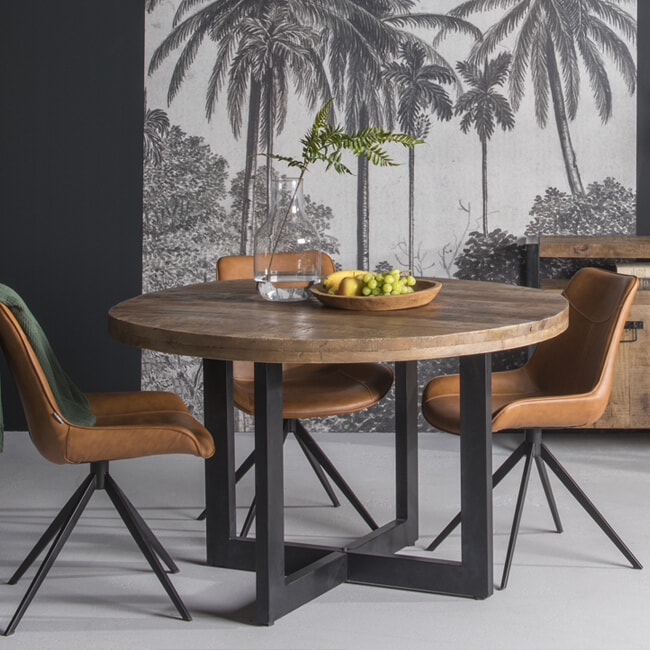 LivingFurn Ronde Eettafel 'Strong' 140cm, Mangohout en staal