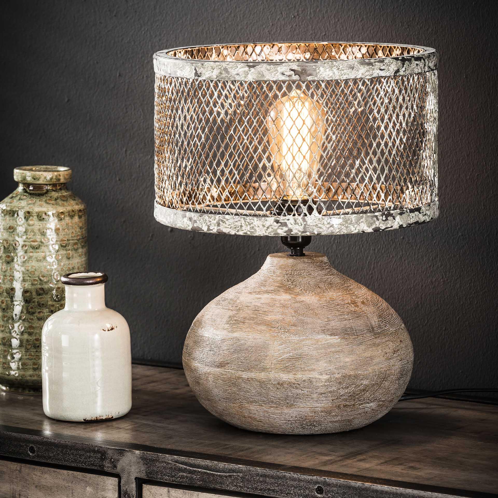 Tafellamp 'Cary' met houten voet, Ø31cm