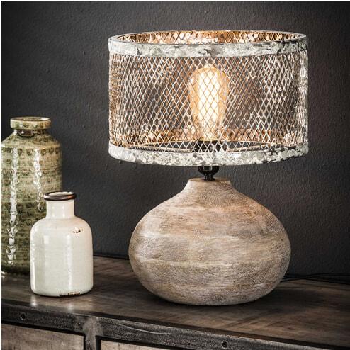 Tafellamp 'Cary' met houten voet