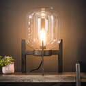 Tafellamp 'Jacki' met glazen kap en industriële driepoot