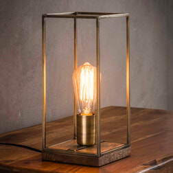 Tafellamp 'Jean-Louis' metaal met houten voet