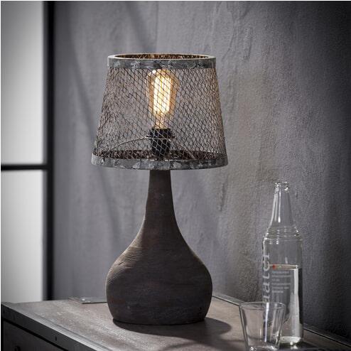 Tafellamp 'Lizzy' met druppelvormige voet en kap van verweerd metaal