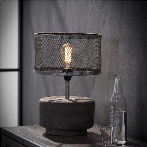 Tafellamp 'Lizzy' met ronde voet en kap van verweerd metaal
