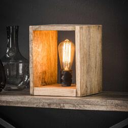 Tafellamp 'Nicole' vierkant mangohout