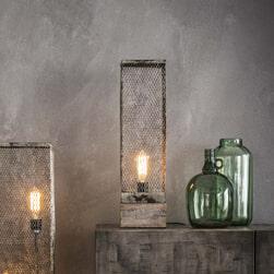 Tafellamp 'Rainn' Gaas met houten voet